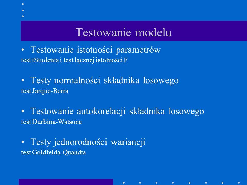 Testowanie modelu Testowanie istotności parametrów