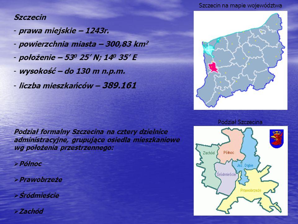 Szczecin na mapie województwa