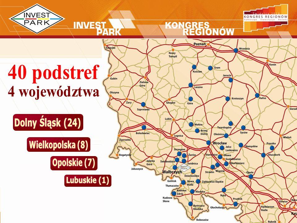 40 podstref 4 województwa Dolny Śląsk (24) Wielkopolska (8)