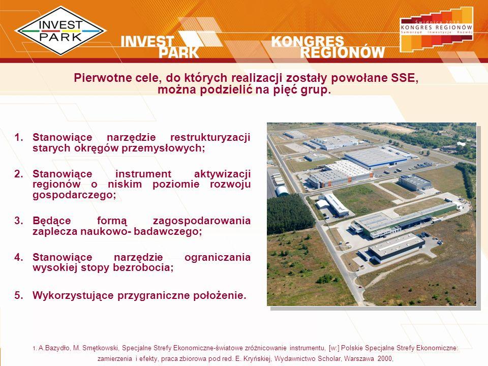 Pierwotne cele, do których realizacji zostały powołane SSE, można podzielić na pięć grup.