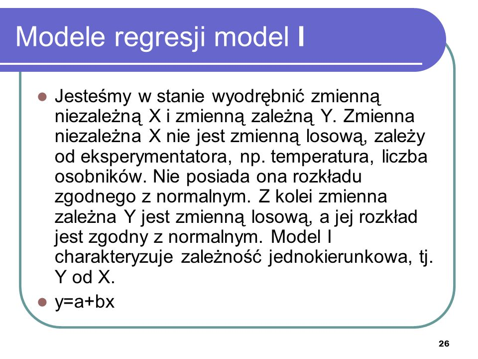 Modele regresji model I