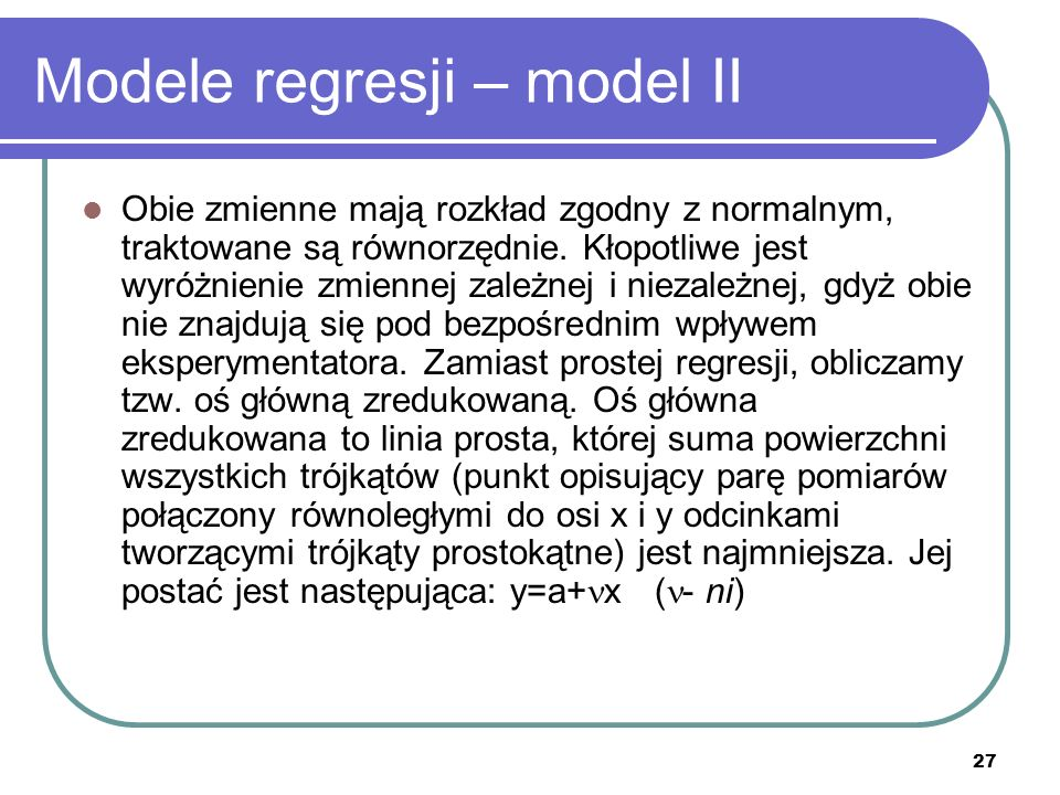 Modele regresji – model II