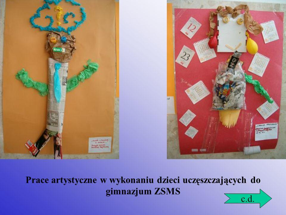 Prace artystyczne w wykonaniu dzieci uczęszczających do gimnazjum ZSMS