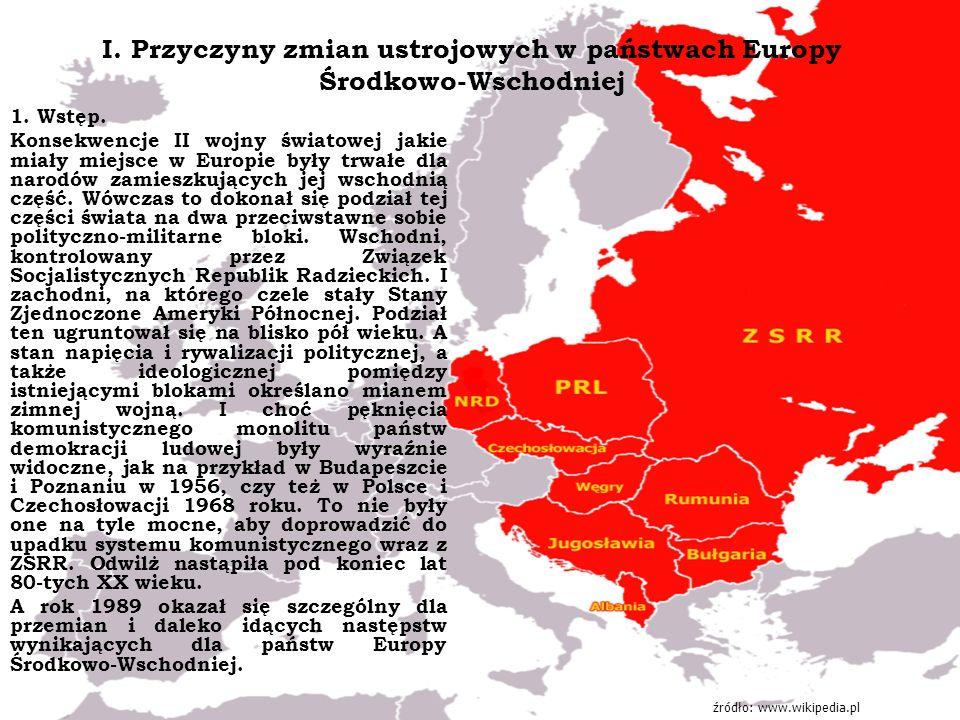 I. Przyczyny zmian ustrojowych w państwach Europy Środkowo-Wschodniej