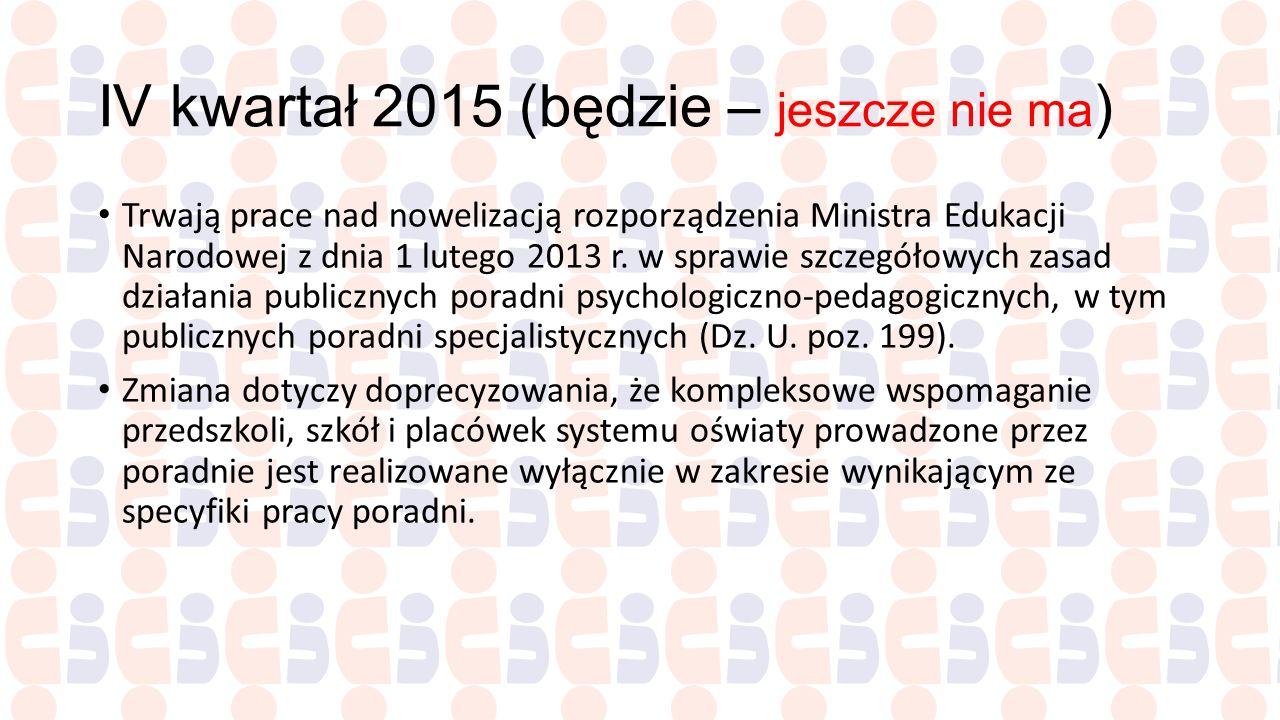 IV kwartał 2015 (będzie – jeszcze nie ma)