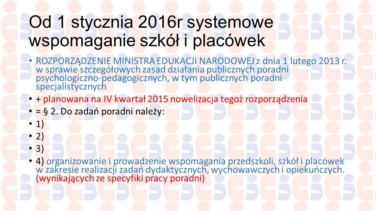 Od 1 stycznia 2016r systemowe wspomaganie szkół i placówek
