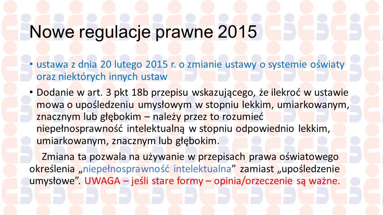 Nowe regulacje prawne 2015 ustawa z dnia 20 lutego 2015 r. o zmianie ustawy o systemie oświaty oraz niektórych innych ustaw.