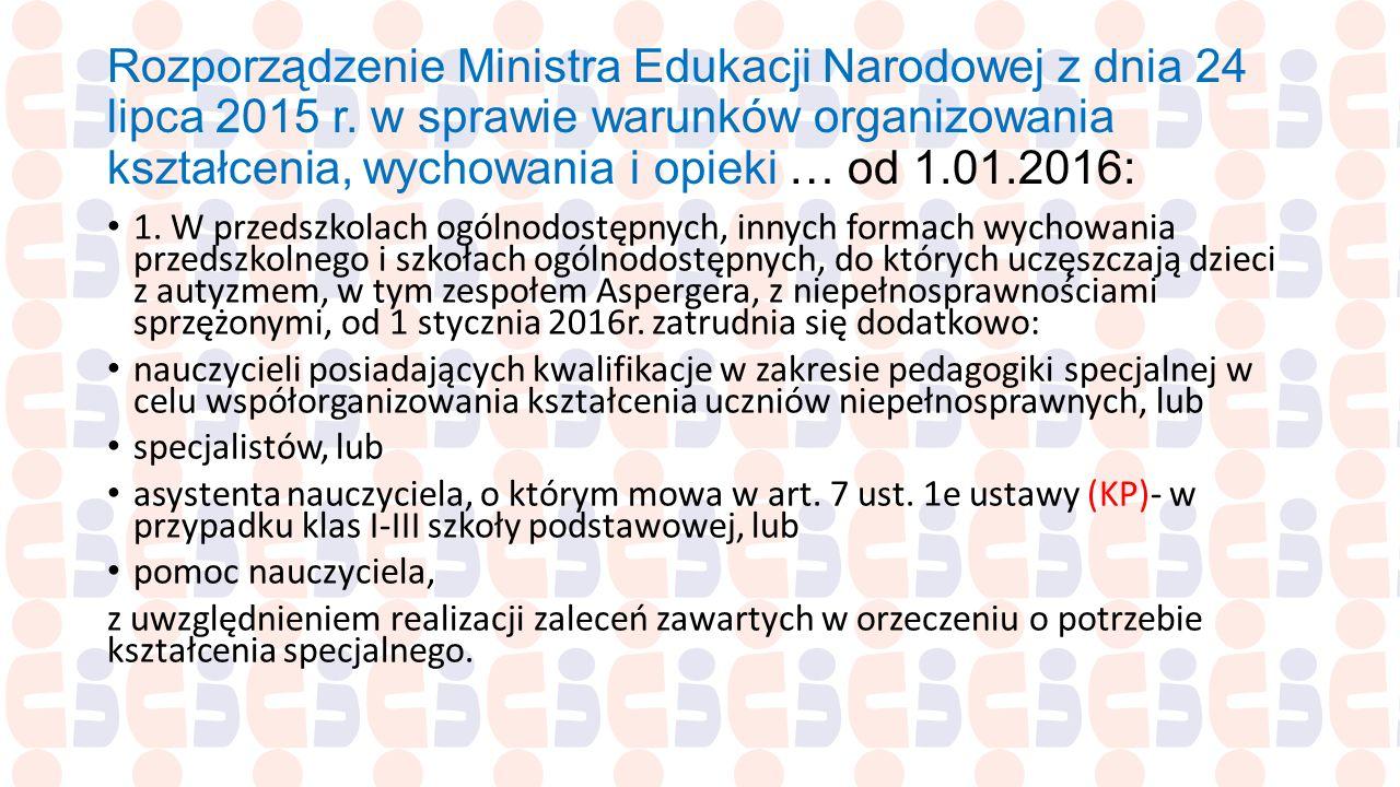 Rozporządzenie Ministra Edukacji Narodowej z dnia 24 lipca 2015 r