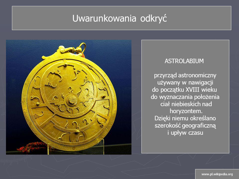 Uwarunkowania odkryć ASTROLABIUM przyrząd astronomiczny
