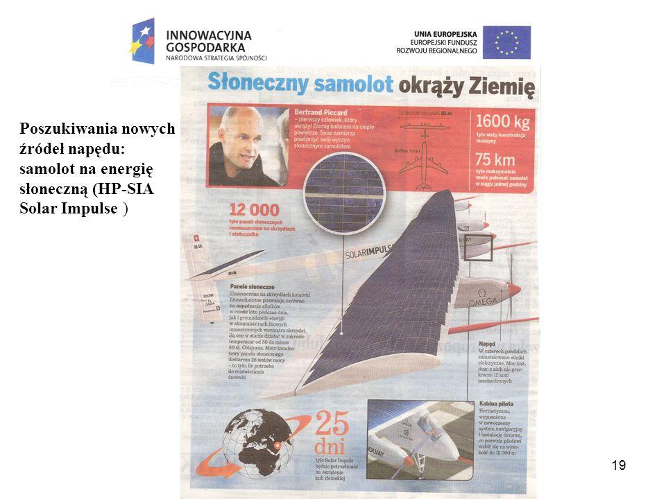 Poszukiwania nowych źródeł napędu: samolot na energię słoneczną (HP-SIA Solar Impulse )