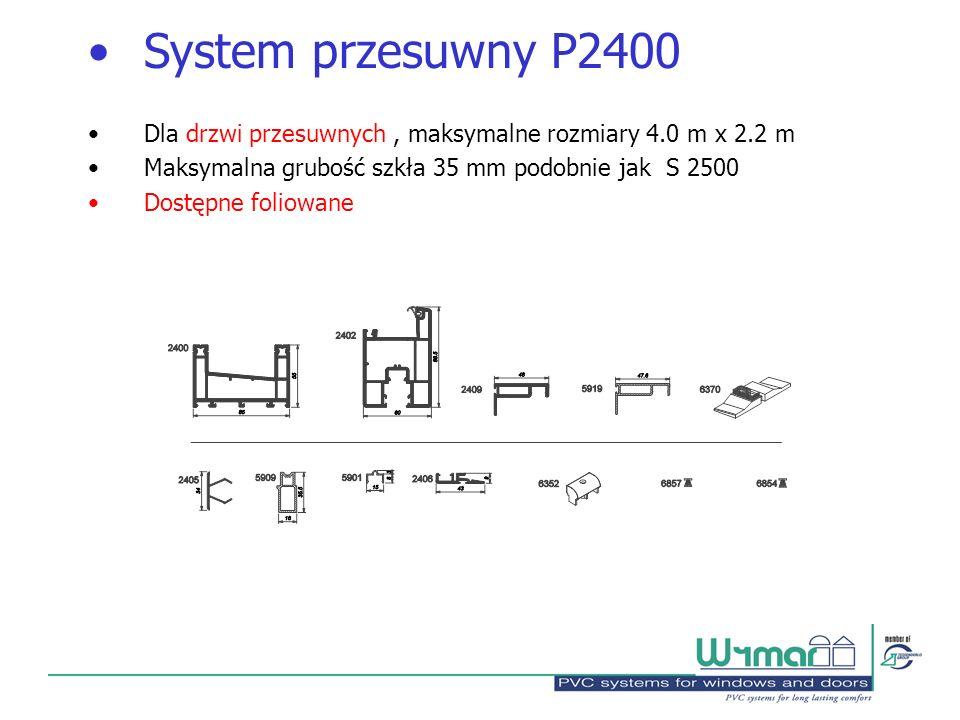 System przesuwny P2400 Dla drzwi przesuwnych , maksymalne rozmiary 4.0 m x 2.2 m. Maksymalna grubość szkła 35 mm podobnie jak S 2500.