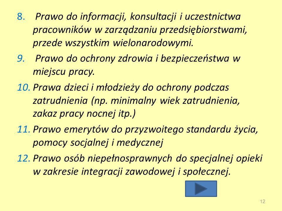 Prawo do informacji, konsultacji i uczestnictwa pracowników w zarządzaniu przedsiębiorstwami, przede wszystkim wielonarodowymi.