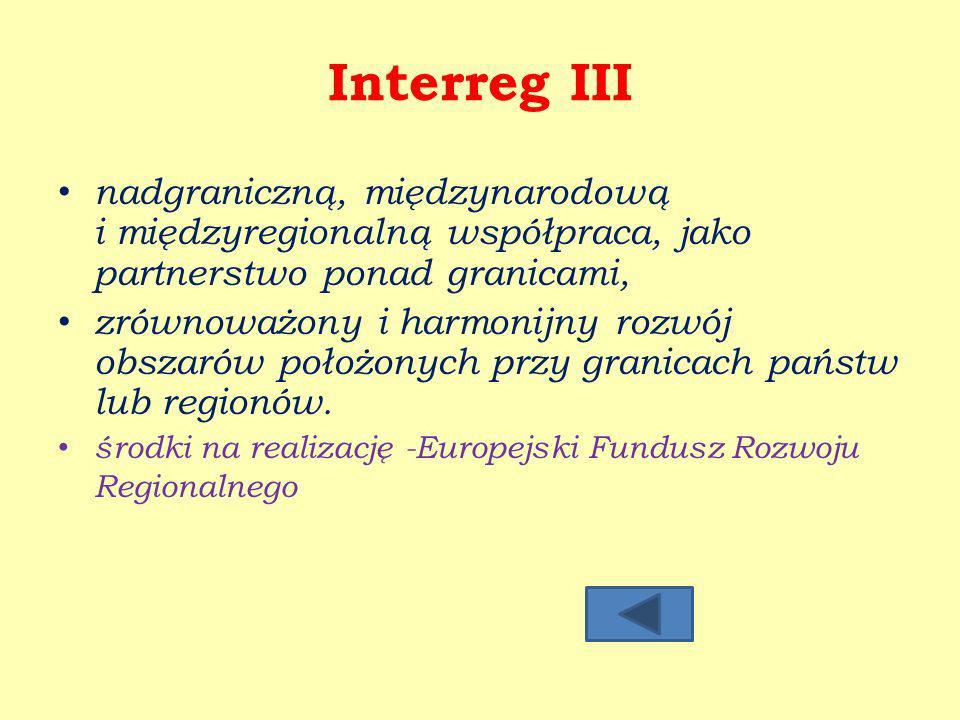 Interreg III nadgraniczną, międzynarodową i międzyregionalną współpraca, jako partnerstwo ponad granicami,