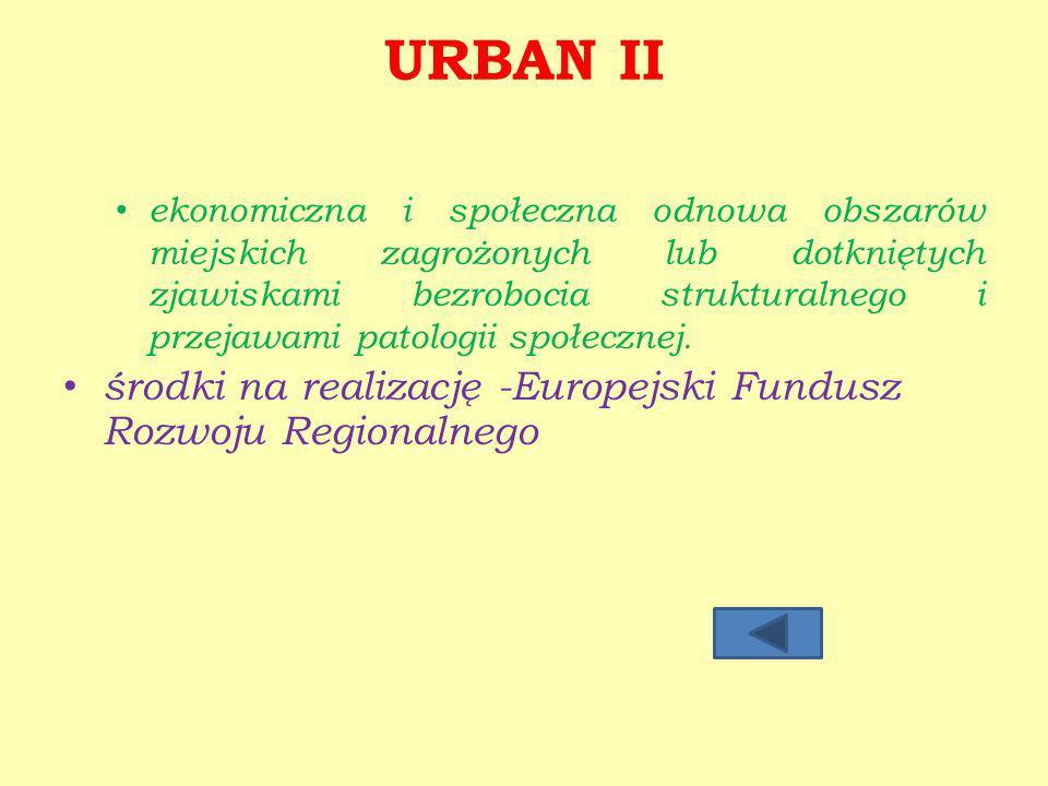 URBAN II środki na realizację -Europejski Fundusz Rozwoju Regionalnego