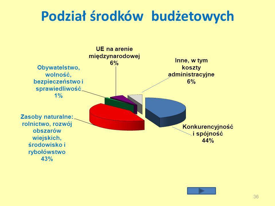 Podział środków budżetowych
