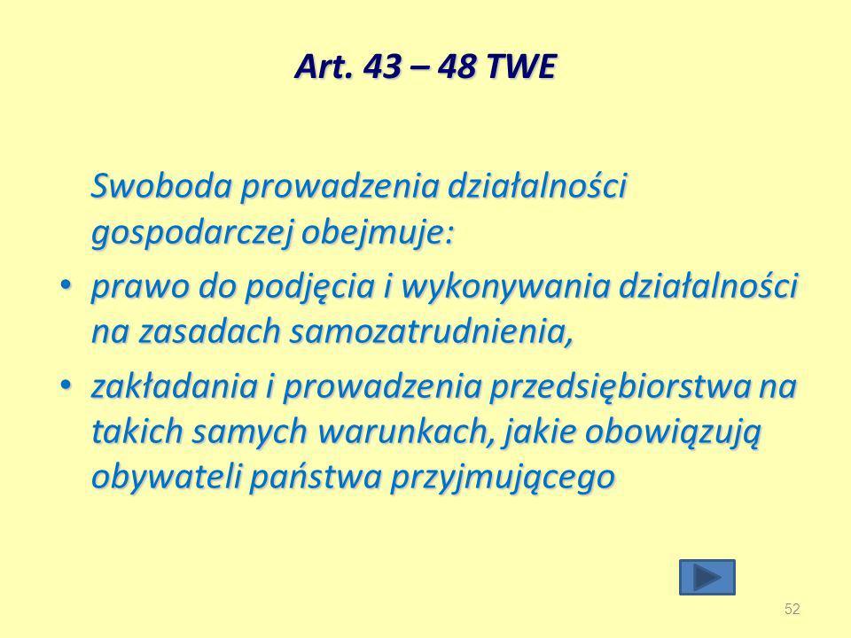 Art. 43 – 48 TWE Swoboda prowadzenia działalności gospodarczej obejmuje: prawo do podjęcia i wykonywania działalności na zasadach samozatrudnienia,