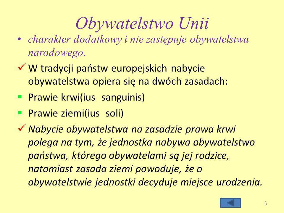 Obywatelstwo Unii charakter dodatkowy i nie zastępuje obywatelstwa narodowego.