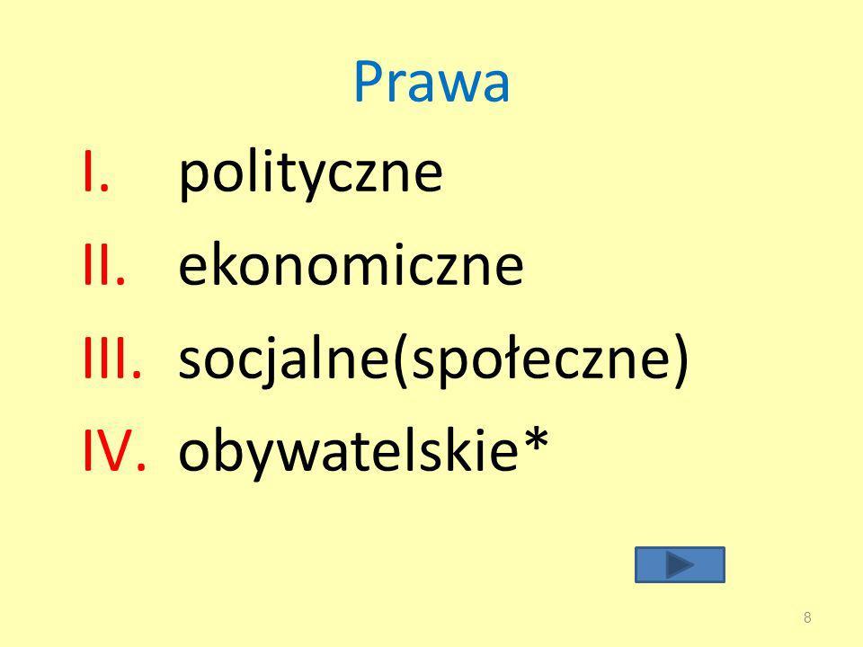 Prawa polityczne ekonomiczne socjalne(społeczne) obywatelskie*
