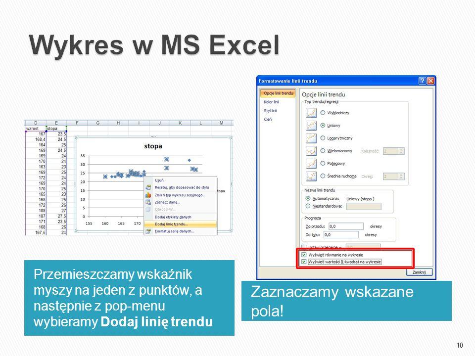 Wykres w MS Excel Zaznaczamy wskazane pola!