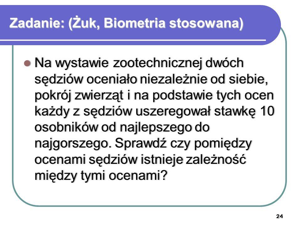 Zadanie: (Żuk, Biometria stosowana)