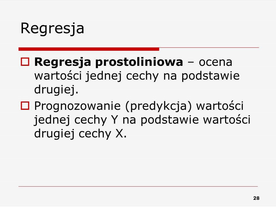 RegresjaRegresja prostoliniowa – ocena wartości jednej cechy na podstawie drugiej.