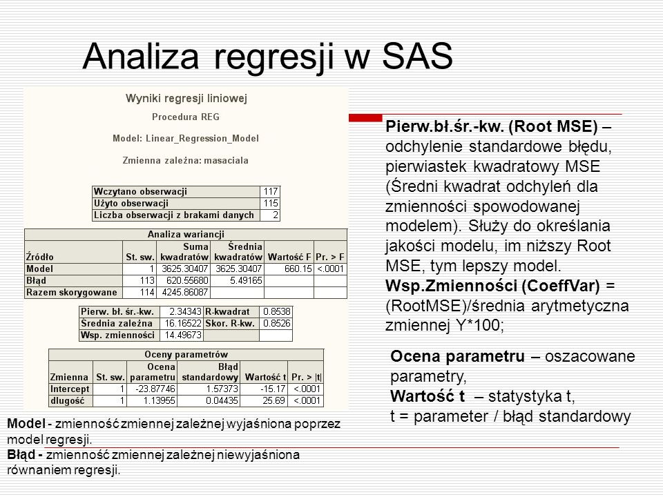 Analiza regresji w SAS