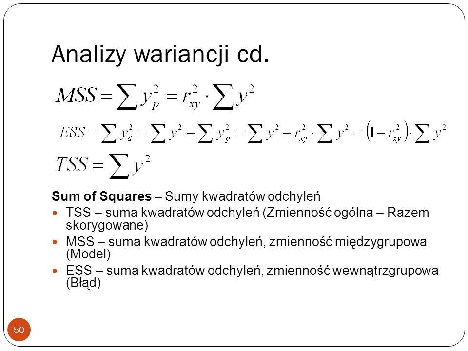 Analizy wariancji cd. Sum of Squares – Sumy kwadratów odchyleń