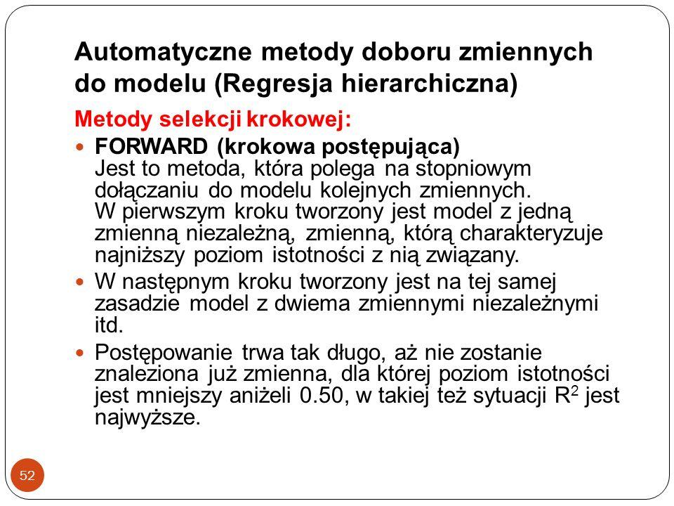 Automatyczne metody doboru zmiennych do modelu (Regresja hierarchiczna)
