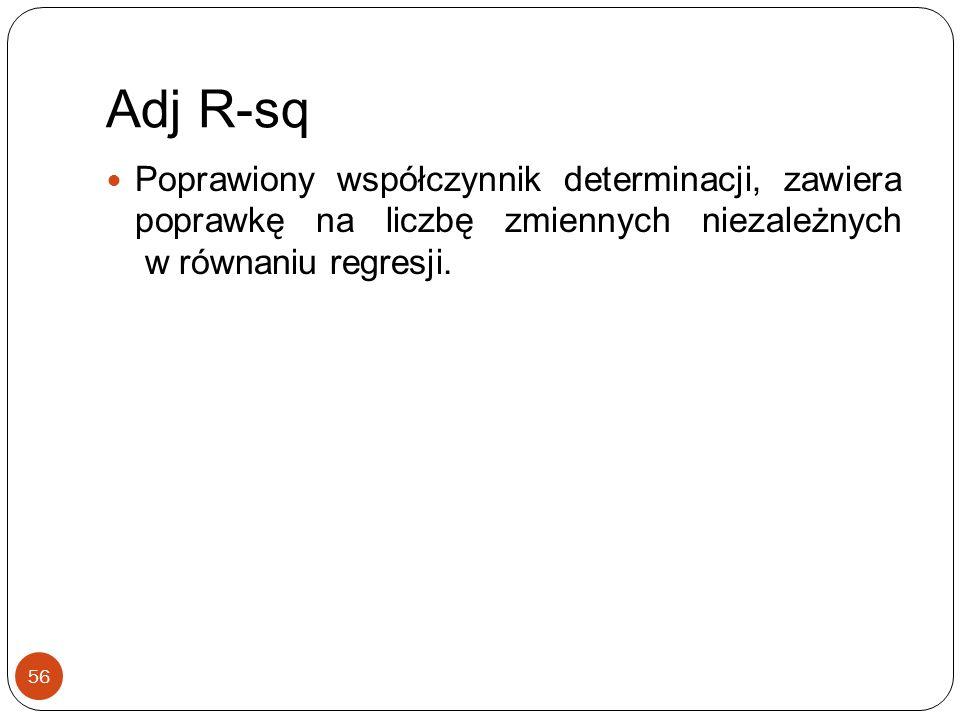 Adj R-sq Poprawiony współczynnik determinacji, zawiera poprawkę na liczbę zmiennych niezależnych w równaniu regresji.