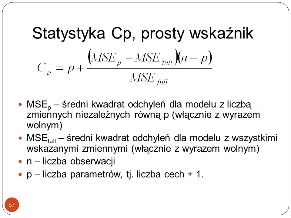 Statystyka Cp, prosty wskaźnik