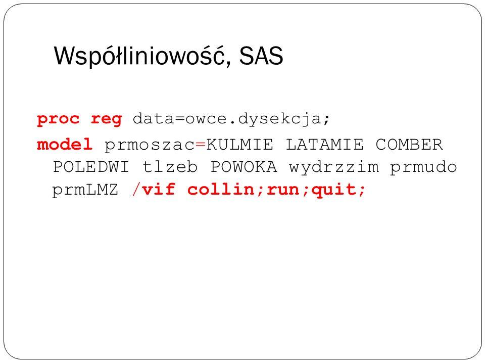 Współliniowość, SASproc reg data=owce.dysekcja;