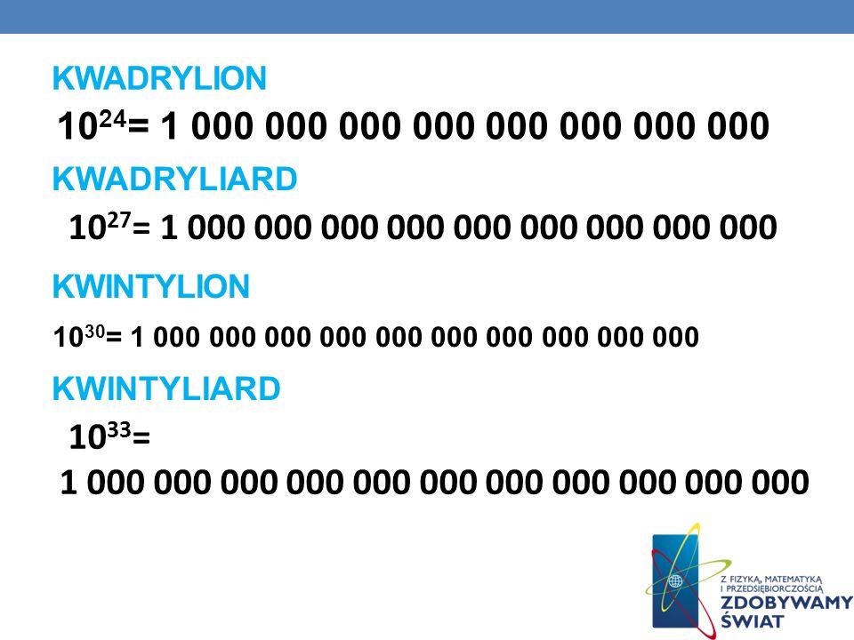 KWADRYLION 1024= 1 000 000 000 000 000 000 000 000. KWADRYLIARD. 1027= 1 000 000 000 000 000 000 000 000 000.