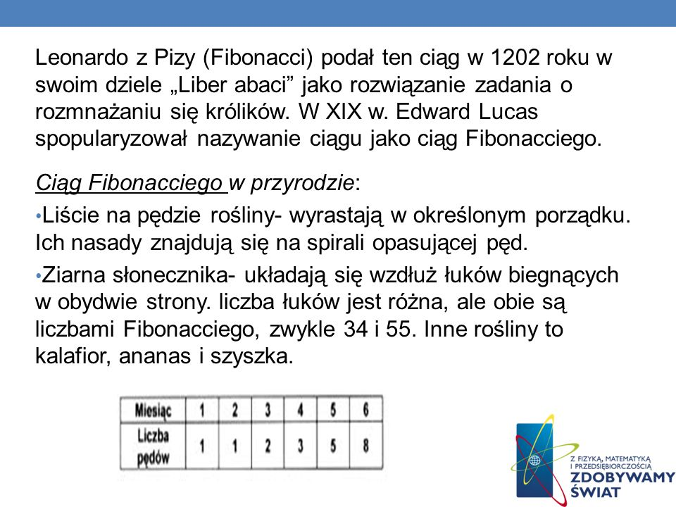 """Leonardo z Pizy (Fibonacci) podał ten ciąg w 1202 roku w swoim dziele """"Liber abaci jako rozwiązanie zadania o rozmnażaniu się królików. W XIX w. Edward Lucas spopularyzował nazywanie ciągu jako ciąg Fibonacciego."""