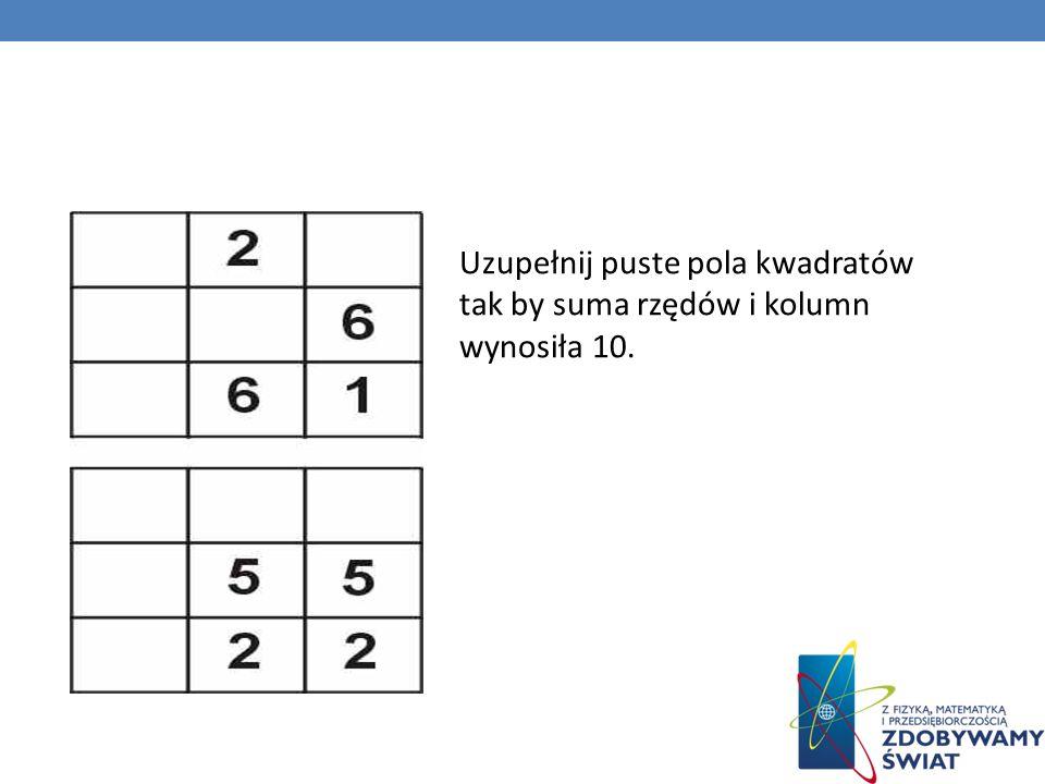 Uzupełnij puste pola kwadratów tak by suma rzędów i kolumn wynosiła 10.