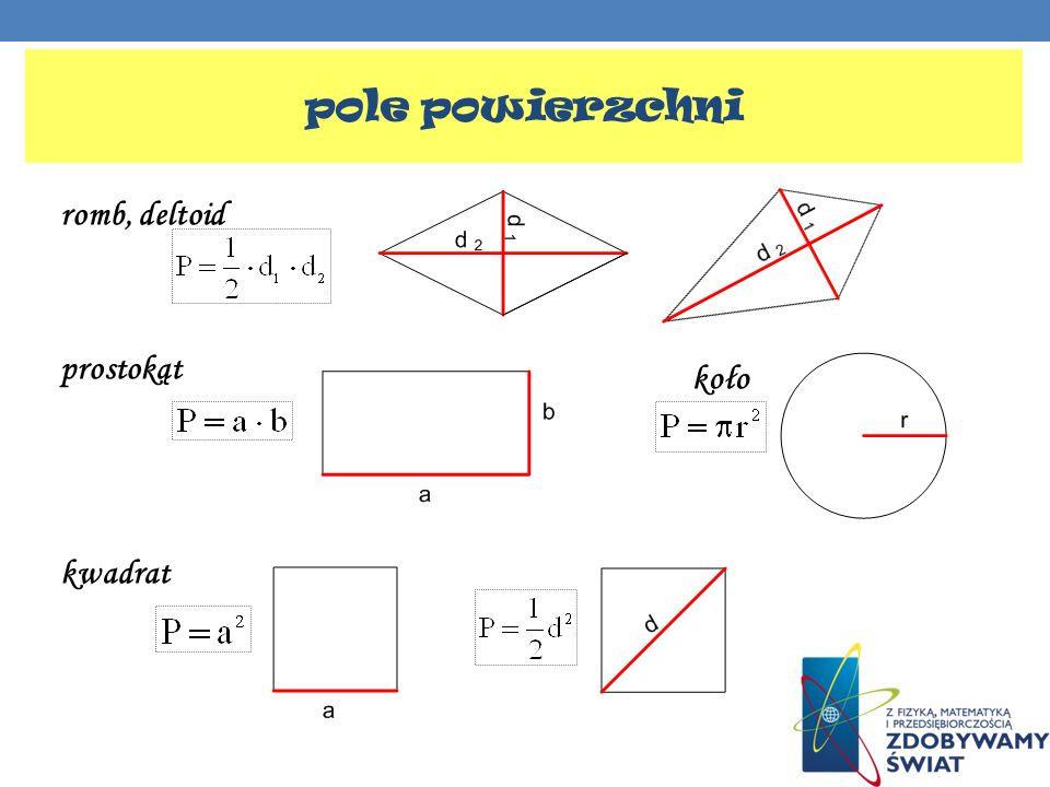 pole powierzchni romb, deltoid prostokąt kwadrat koło