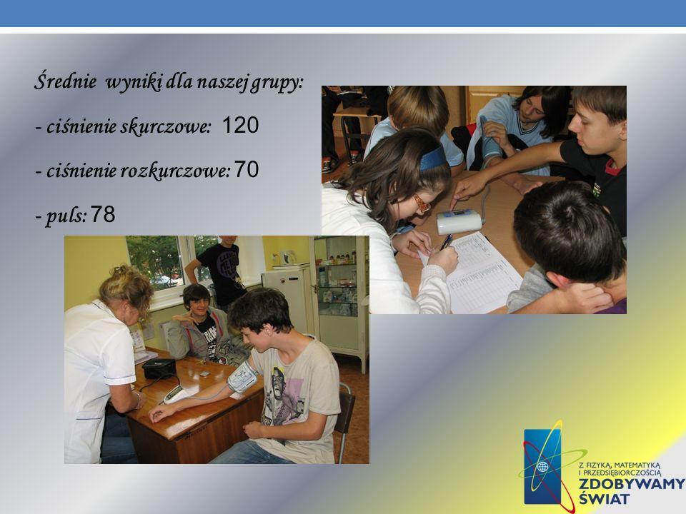 Średnie wyniki dla naszej grupy: - ciśnienie skurczowe: 120 - ciśnienie rozkurczowe: 70 - puls: 78