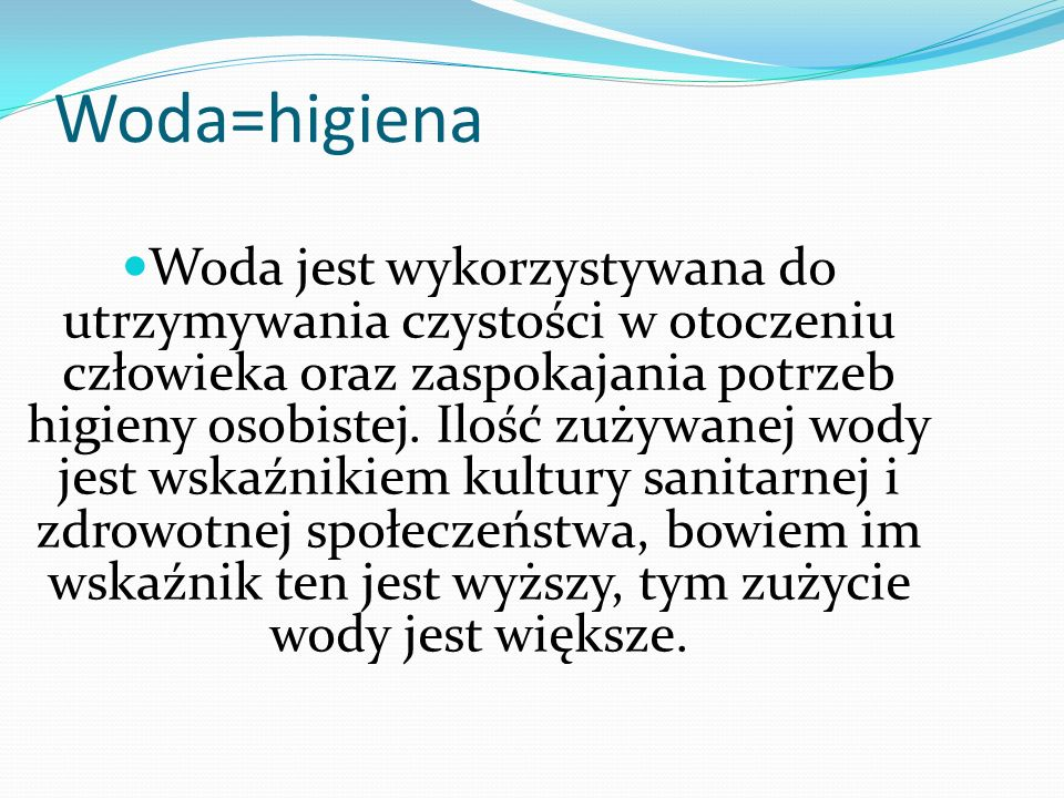 Woda=higiena