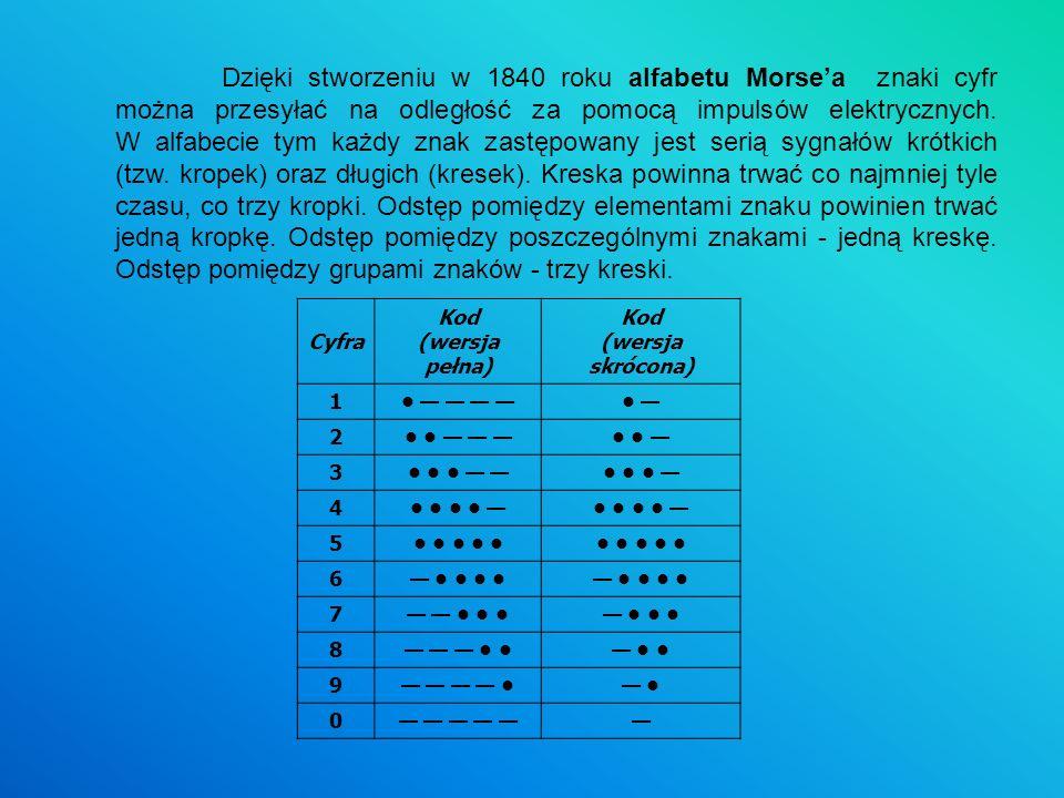Dzięki stworzeniu w 1840 roku alfabetu Morse'a znaki cyfr można przesyłać na odległość za pomocą impulsów elektrycznych. W alfabecie tym każdy znak zastępowany jest serią sygnałów krótkich (tzw. kropek) oraz długich (kresek). Kreska powinna trwać co najmniej tyle czasu, co trzy kropki. Odstęp pomiędzy elementami znaku powinien trwać jedną kropkę. Odstęp pomiędzy poszczególnymi znakami - jedną kreskę. Odstęp pomiędzy grupami znaków - trzy kreski.