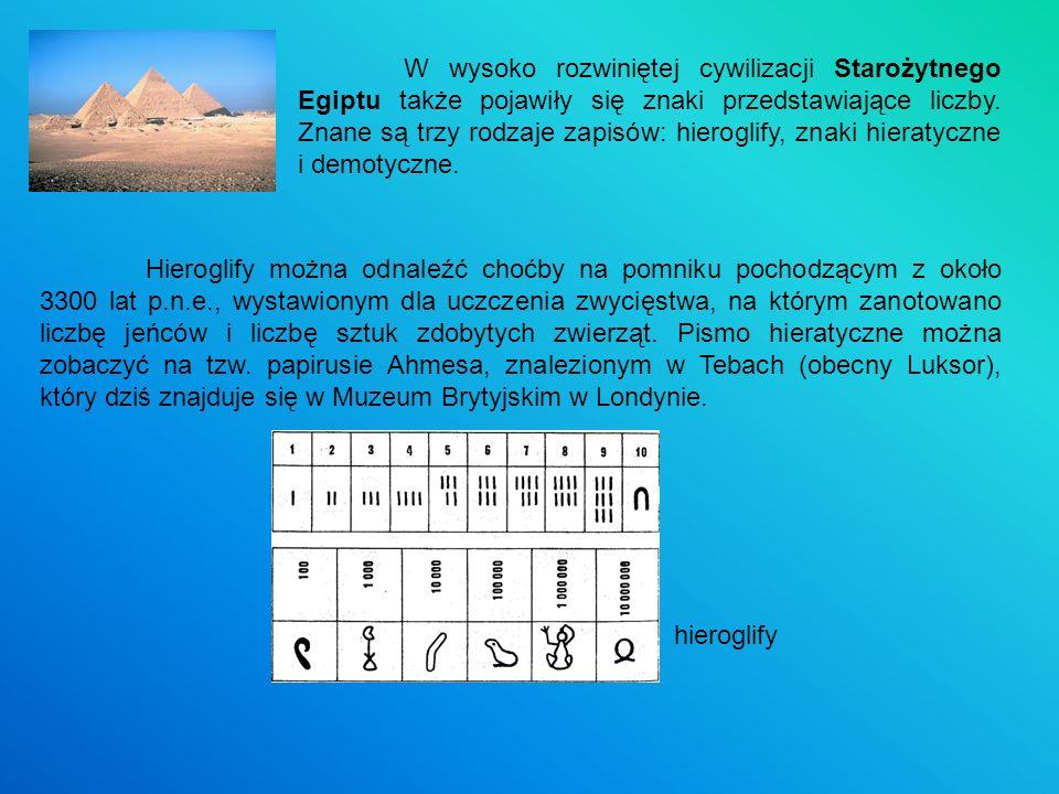 W wysoko rozwiniętej cywilizacji Starożytnego Egiptu także pojawiły się znaki przedstawiające liczby. Znane są trzy rodzaje zapisów: hieroglify, znaki hieratyczne i demotyczne.
