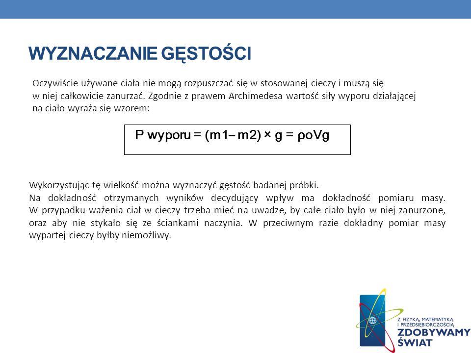 Wyznaczanie gęstości P wyporu = (m1– m2) × g = ρoVg