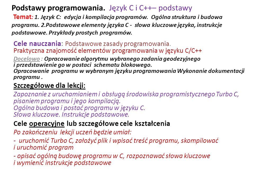 Podstawy programowania. Język C i C++– podstawy Temat: 1
