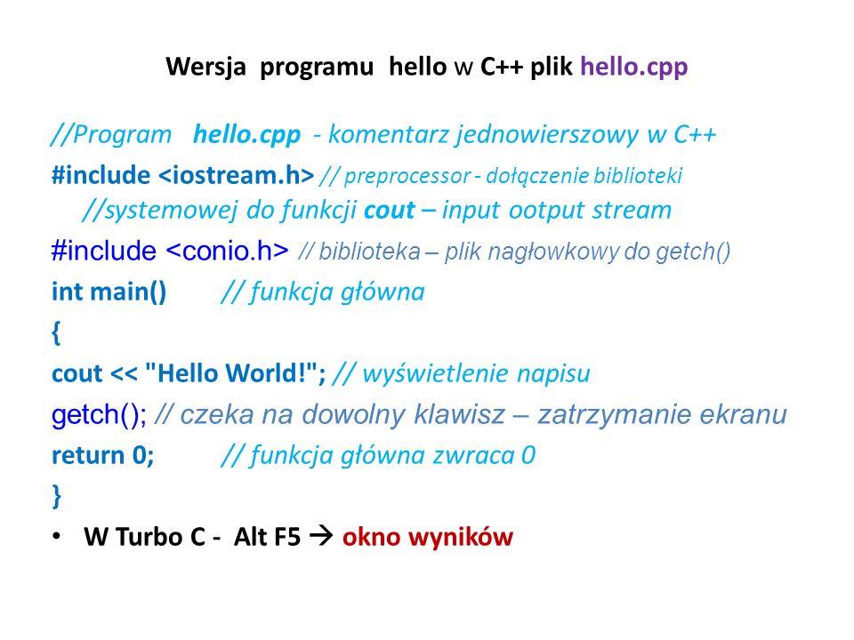 Wersja programu hello w C++ plik hello.cpp