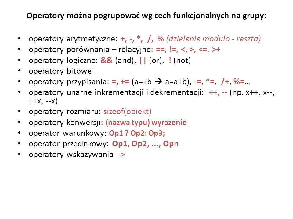Operatory można pogrupować wg cech funkcjonalnych na grupy:
