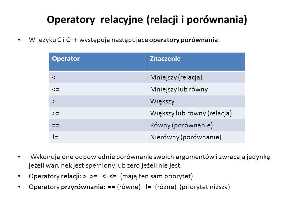 Operatory relacyjne (relacji i porównania)