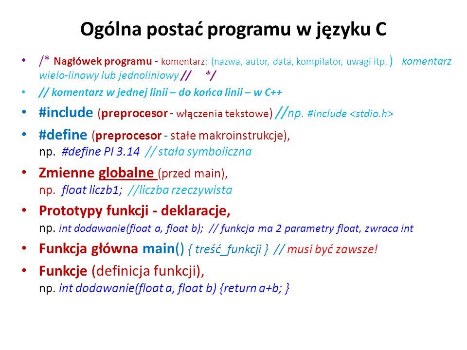 Ogólna postać programu w języku C