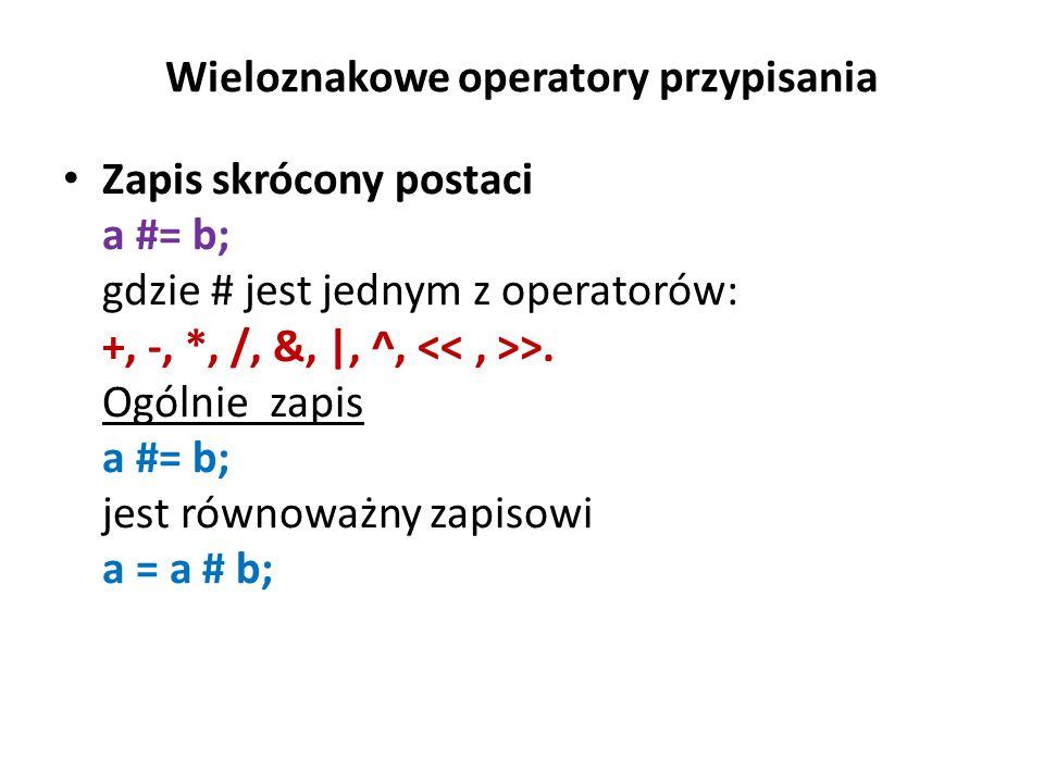 Wieloznakowe operatory przypisania