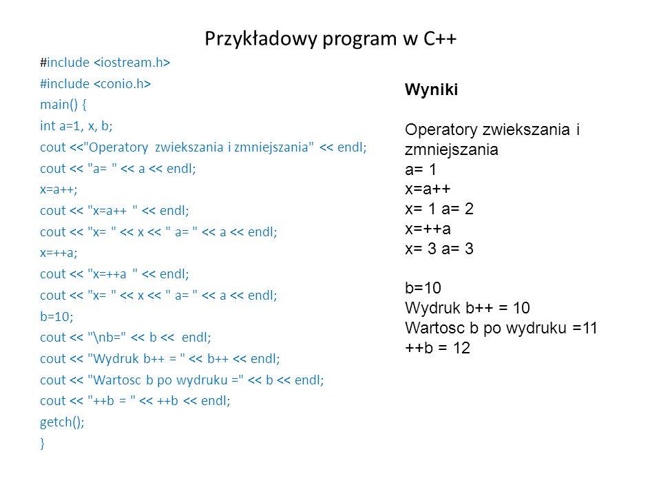 Przykładowy program w C++