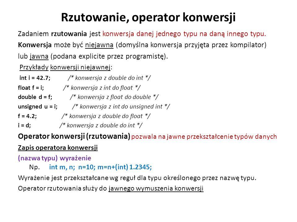 Rzutowanie, operator konwersji