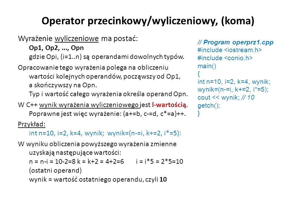 Operator przecinkowy/wyliczeniowy, (koma)