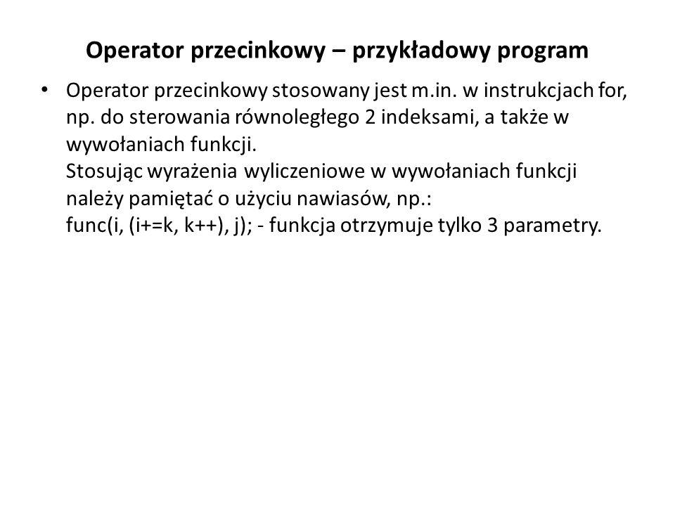 Operator przecinkowy – przykładowy program